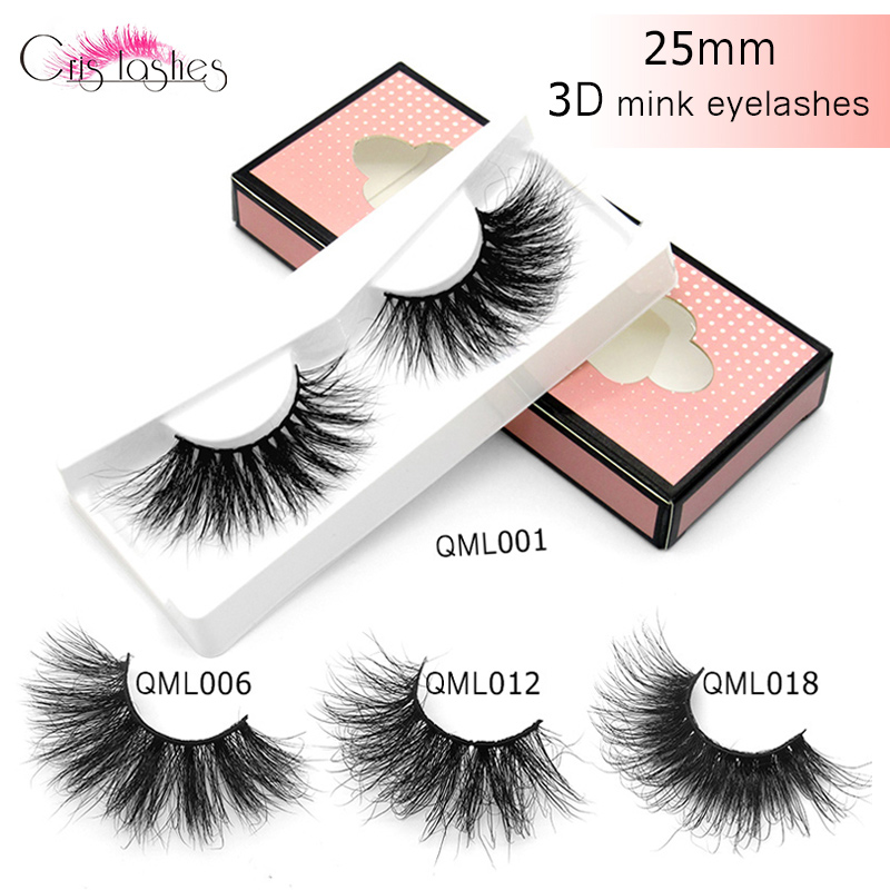 Crislashes 25mm Mink False Eyelashes 3D Full Strip Natural Mink Eyelash 25mm Long Handmade Wholesale Makeup Tools Lash Extension