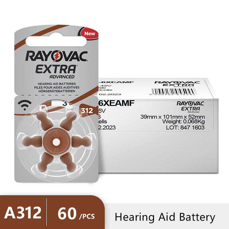 Image 5 - New 60 pcs/10card Rayovac Extra 1.45V Performance Hearing Aid Batteries. Zinc Air 312/A312/PR41 Battery for CIC Hearing aidsrayovac extrahearing aid batteriesbattery for hearing aids -