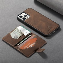 For iPhone 11 12 Pro Max Mini XS XR 7 8 Plus Vintage PU Leather Case+Detachable Card Slot Wallet Magnetic Stand Cover