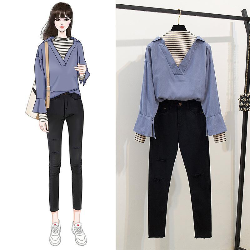 ICHOIX Cool Girl Denim Pants Set Patchwork Shirt Korean Style Women 2 Piece Set Fall Clothes Pencil Trouser 2 Piece Outfits