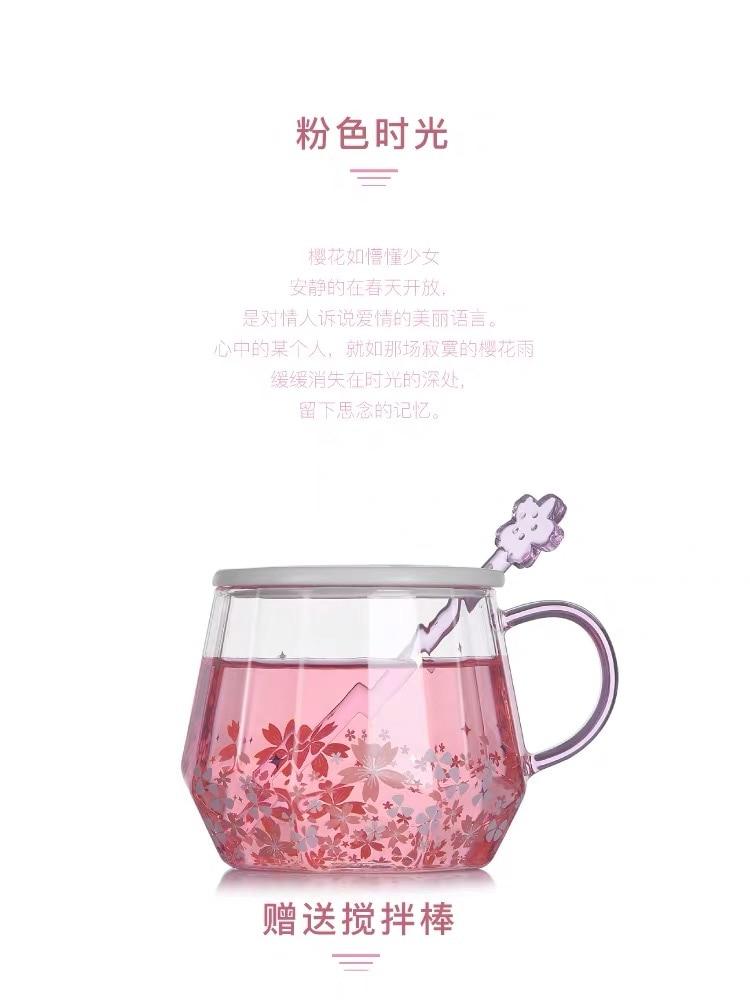 Kawaii Sakura Cherry Blossom Heat-resistant Glass Cup 2