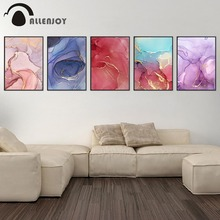 Allenjoy Nordic Canvas Paintings Marble Abstract Colorful Golden Texture Living Room Pictures Minimalist  Home Decor Posters