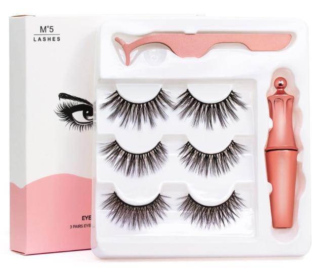 3 Pairs/set 3D Magnetic Fake Eyelashes Extension Natural Reusable Magnets False Eyelashes with Magnetic Liquid Eyeliner tweezer