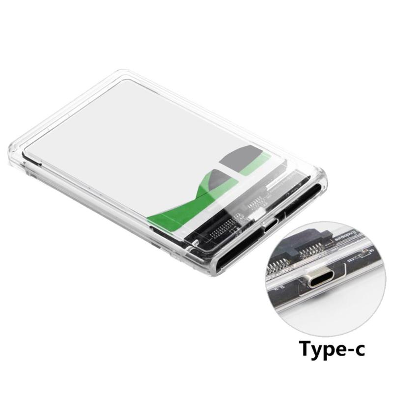 Portable Transparent Hard Disk Case 2.5 Inch USB 3.1 Gen 2 Type-C To SATA HDD SSD Mobile Enclosure Box Support 2TB