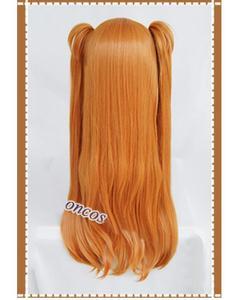 Image 3 - אנימה EVA אסוקה לנגלי סוריא קוספליי פאות ארוך כתום עם 2 קוקו קליפים חום עמיד סינטטי שיער פאה + פאה כובע