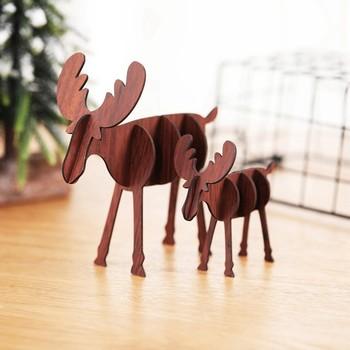 Diy drewniane śliczne ozdoby łosia ozdoby świąteczne na ozdoby do domu świąteczne prezenty dla dzieci Mini ozdoby na biurko tanie i dobre opinie CN (pochodzenie) Christmas Decorations Bez pudełka na prezent