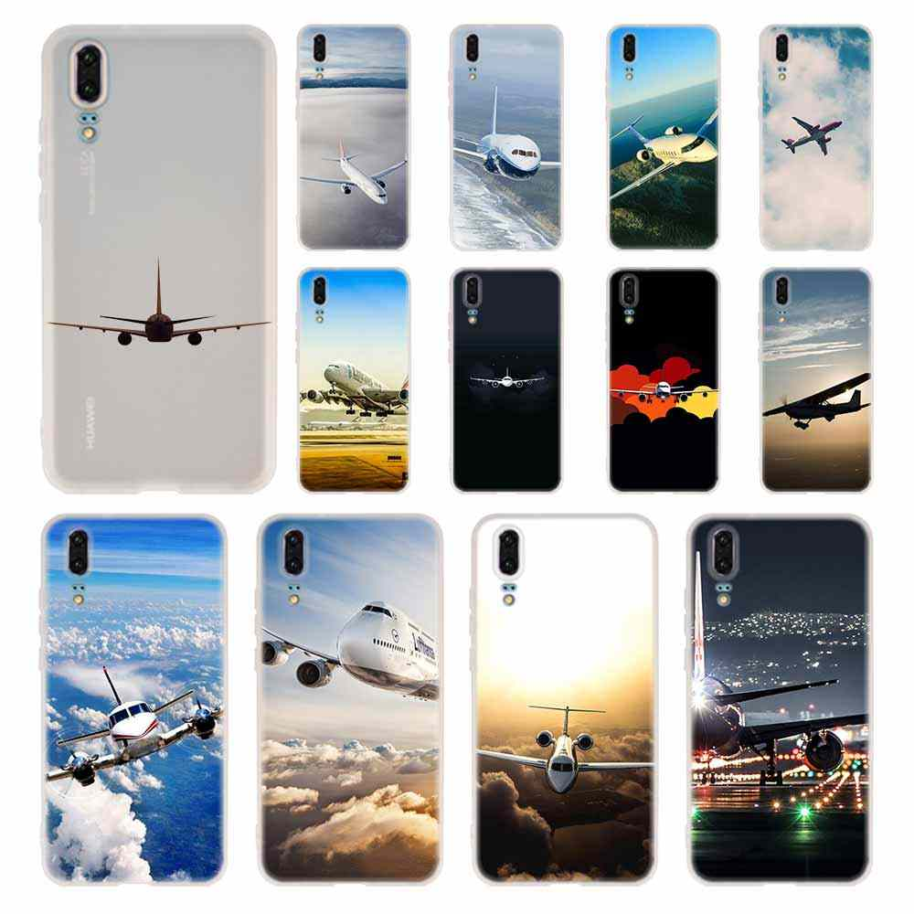Case Silicone Soft TPU Cover For Huawei P30 P20 Pro P10 P9 P8 Plus P Smart Lite 2019 Airplane fly travel Cases