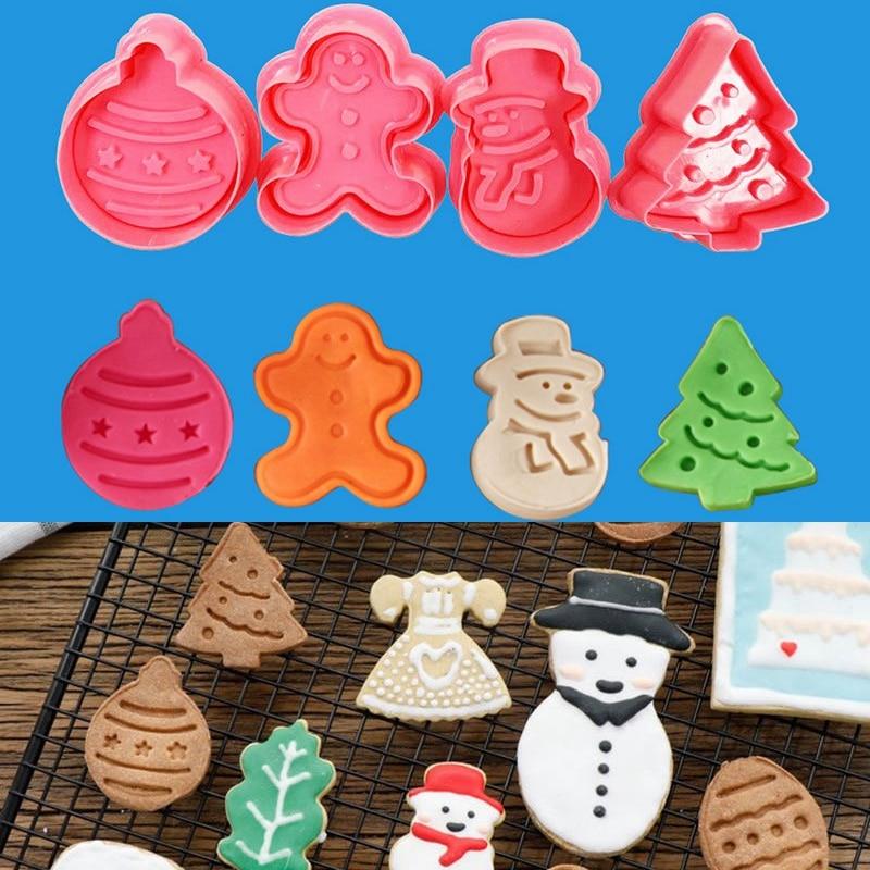 4pcs/set Merry Christmas Cookies Mould Cute Snowman Christmas Tree Mold Kitchen DIY Baking Cake Cookies Tools Mold Dismountable