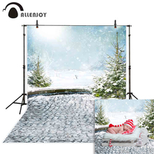 Allenjoy background for photo shoots christmas tree winter snow brick floor snowflake newborn backdrop photography photocall