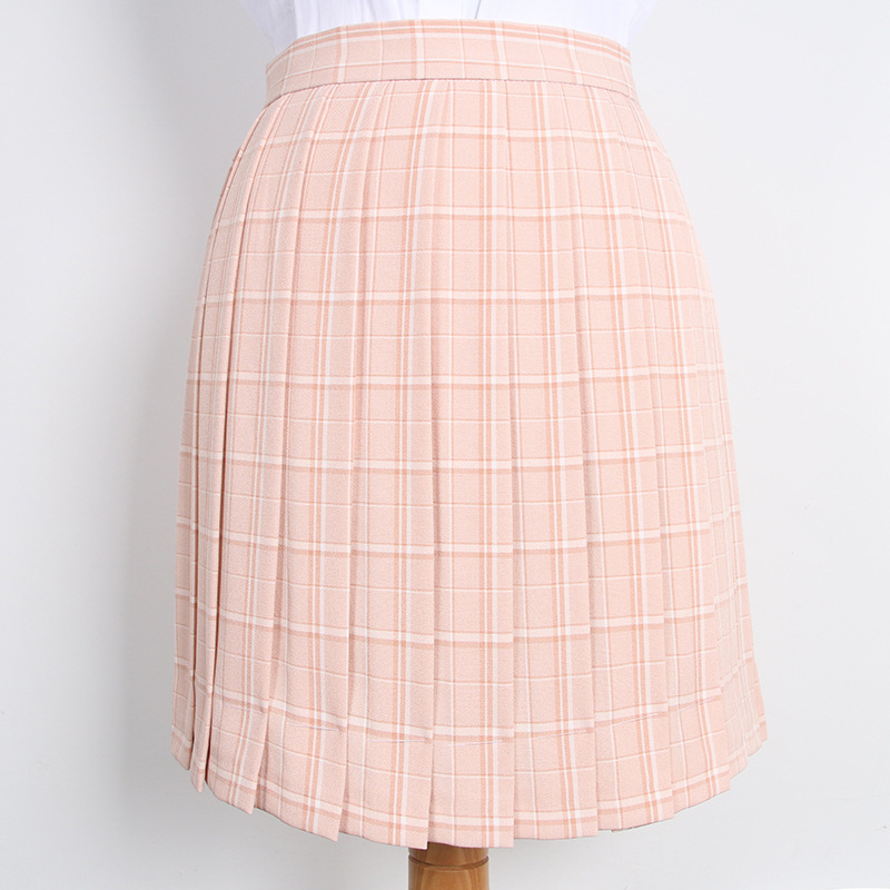 Japan College High-waisted Pink Checked Uniform Pleated Skirt Spring Summer Fall Skirt