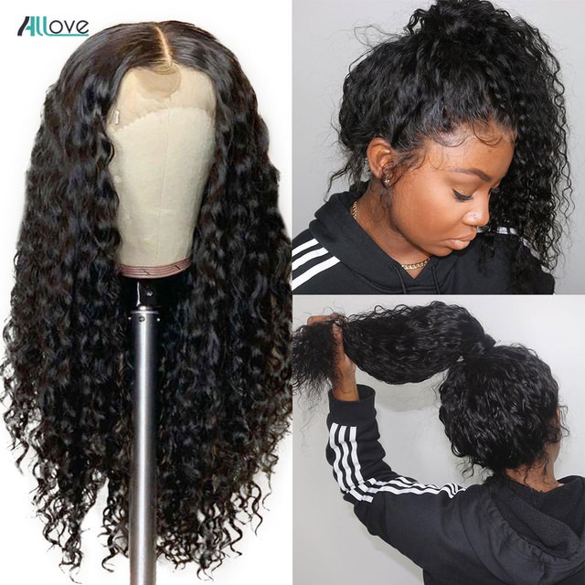 Allove Deep Wave Lace Front Wig Pre Plucked 13X4 Lace Front Human Hair Wigs For Women Malaysian Deep Curly Wig 13X6X1 Lace Wig