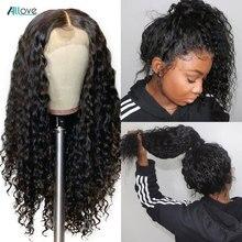 Allove onda profunda peruca dianteira do laço pré arrancadas 13x4 frente do laço perucas de cabelo humano para as mulheres malaio peruca encaracolada profunda 13x6x1 peruca do laço