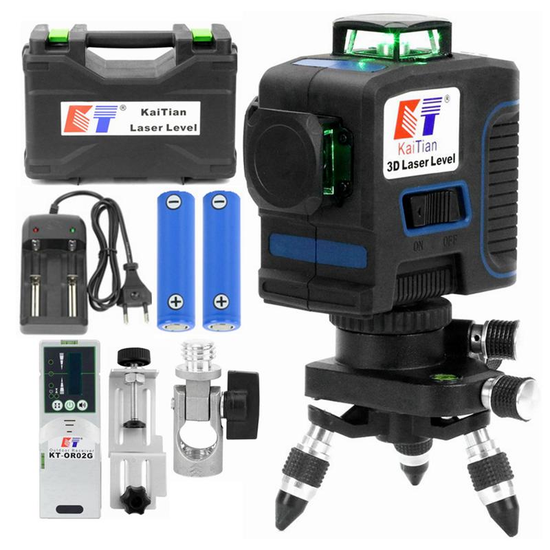 Kaitian 12 линия лазерный уровень с лазером Зеленого Цвета 360 само Балансирующий перекрестный вертикальное и горизонтальное 3D лазерный приемник лазерный уровень строительные инструменты