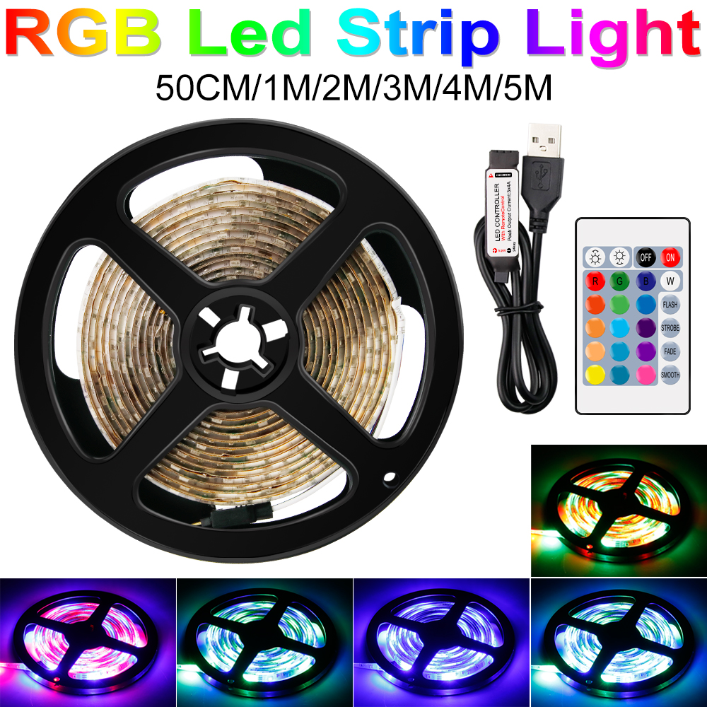 220V LED Strip RGB TV Backlight 110V US/EU Plug 0.5m~5m 2835 5V USB LED Strip Light With Remote Ambilight Lamp Rope Flashing
