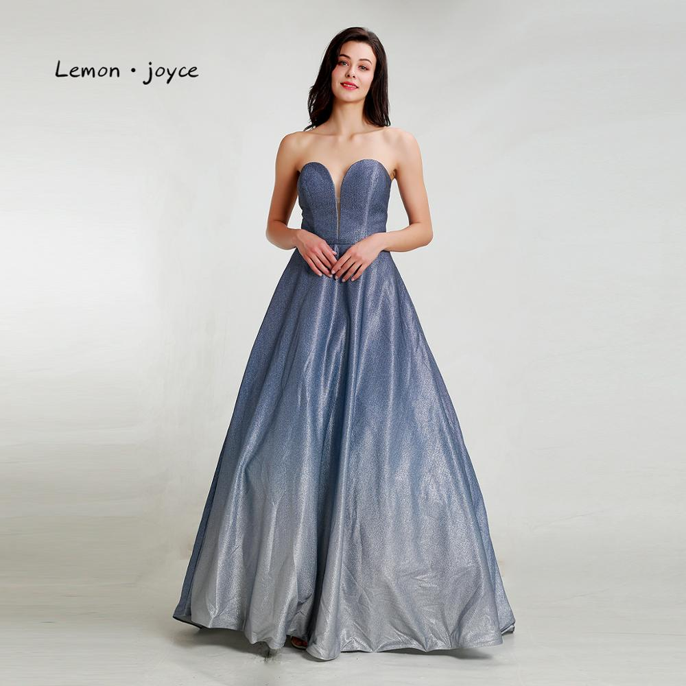 Lemon joyce Prom Dresses Long 2019 Sexy Simple A line Party Dress Sweetheart Contrast Color Shiny