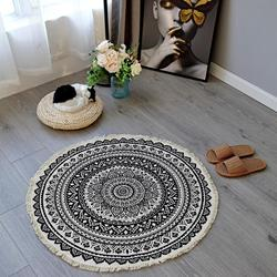 Okrągły dywan sypialnia styl boho Tassel bawełniany dywan ręcznie tkane klasyczne gobelin poduszka na sofę mata podłogowa dla domu sypialnia salon w Dywan od Dom i ogród na