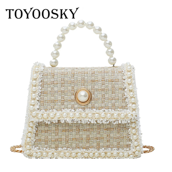 TOYOOSKY Women Handbag 2019 Woolen Crossbody Bag Luxury Design Brand Ladies Retro Pearl Shoulder Messenger