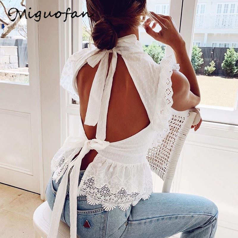 Miguofan White Blouse Shirts Vintage Bandage Backless  Lace Blouse Ruffles Embroidery Blouse Sleeveless Tops Turtleneck Blusas