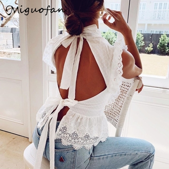 Miguofan White blouse shirts vintage bandage backless  lace blouse ruffles embroidery blouse sleeveless tops turtleneck blusas cold shoulder lace up striped blouse