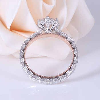 Transgems Solid 14K 585 White and Rose Gold F Colorless Moissanite Engagement Milgrain Edge Ring For Women Vintage Fine Jewelry