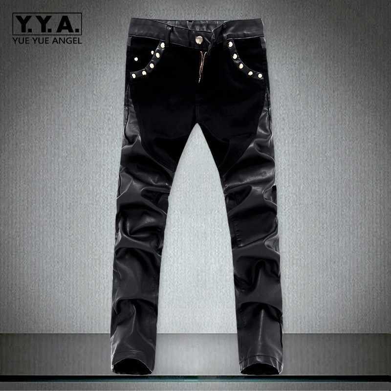 2020 ใหม่แฟชั่น Splice Men รถจักรยานยนต์กางเกงเกาหลี SLIM FIT PU หนังกางเกง Streetwear ลำลองซิปดินสอกางเกง PLUS ขนาด