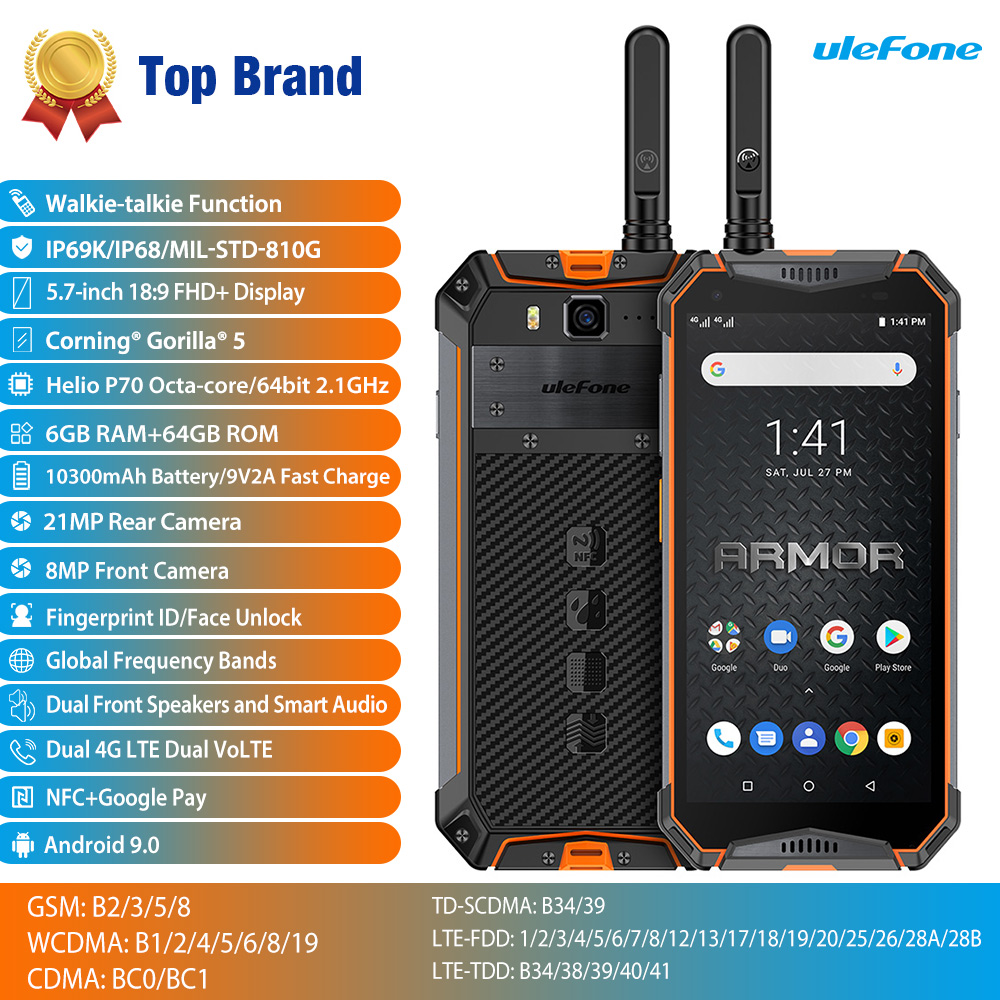 Ulefone Armor 3WT Walkie-Talkie Rugged Mobile Phone Android 9.0 6GB 64GB 10300mAh NFC 4G Globalvision Smarphone