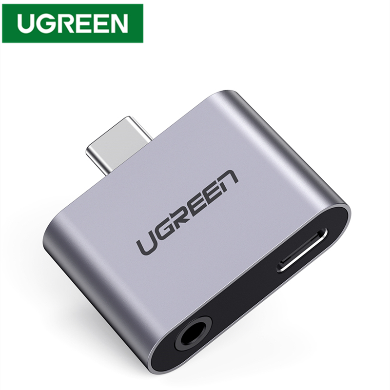UGREEN USB C To Type C 3.5mm Headphone Jack Adapter Aluminum Audio  USB Type C 3.5mm AUX Earphone Converter For Huawei P20 Pro