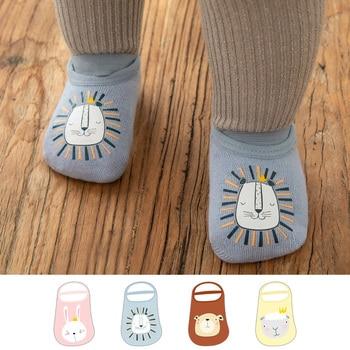 Cotton Baby Socks Anti Fall Non-Slip Cartoon Printing Newborn Socks for Girls Boys Cute Toddler Floor Socks for New Born фото