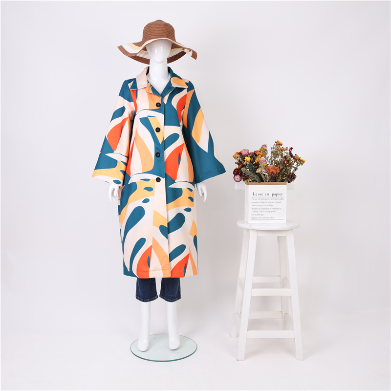 Image 3 - Fashion Printed Colour Long Sleeve coat jackets 2019 Autumn Winter female vintage jacket Stitched print Casual Women's Outwear-in Wool & Blends from Women's Clothing
