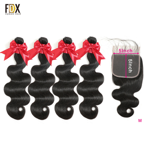FDX Body Wave Bundles With Closure 4 Bundles With 5x5 Lace Closure 100% Brazilian Human Hair Remy Human Hair