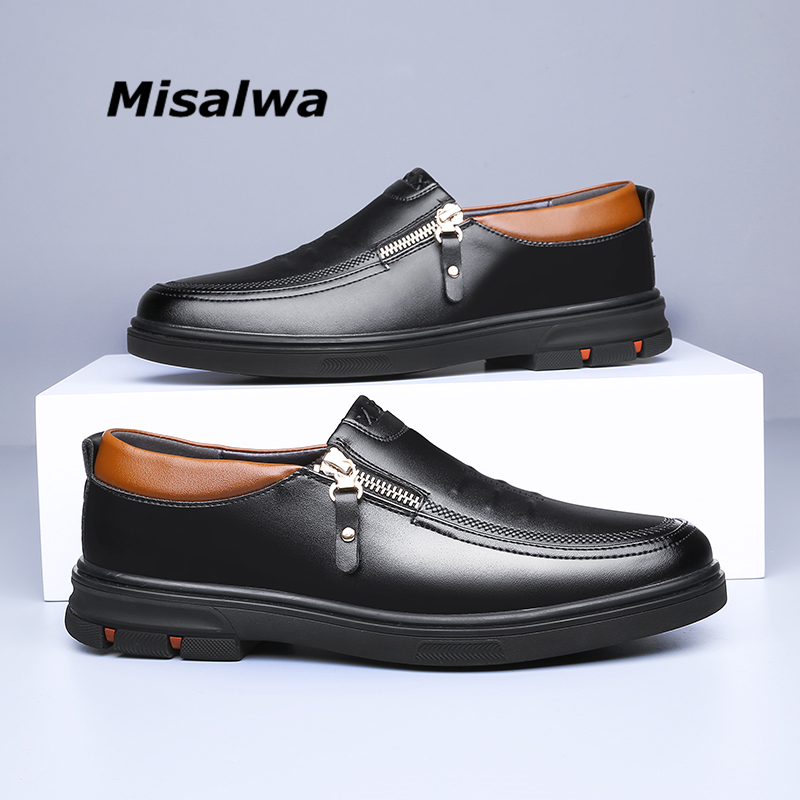 Men Loafers Retro Boat Gommino Driving Moccasins Casual Dress Drive Zipper Shoes
