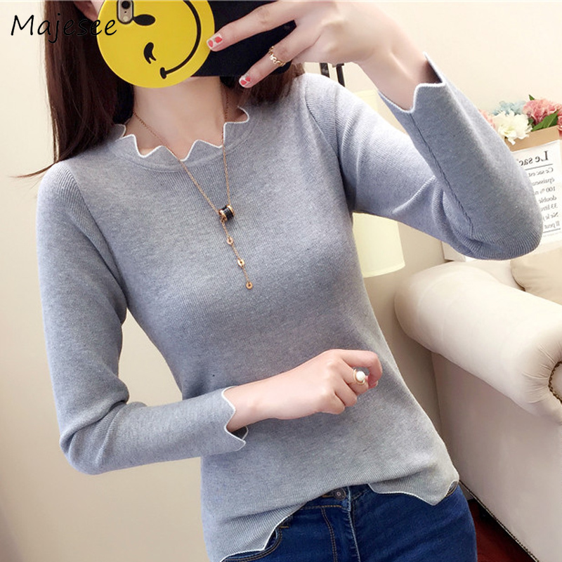 Pullovers Women Knitting Sweaters All-match Simple Irregular O-Neck Solid Harajuku Soft High Quality Korean Style New Fashion