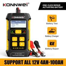 Konnwei kw510 bateria de carro tester obd2 12v bateria reparação carregamento 100 2000cca para ferramenta de diagnóstico de bateria de carro russo