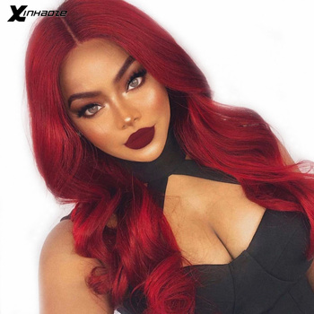 Deep Part Red Human Hair 13x6 Lace Frontal Wigs for Women Brazilian Body Wave Full Lace Red Hair Wigs with Baby Hair Xinhaoze