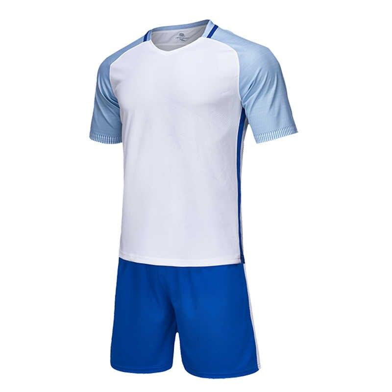 Mannen Korte Mouwen Rood Voetbal Jersey Set Volwassen Voetbal Uniform Kids Voetbal Shirt Jongen Blauw Sport Truien Aangepaste Naam Nummer