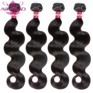 Image 1 - Aliballad Brazilian Hair Weave Bundles Body Wave Hair 4 Pcs/Lot Remy Hair Extensions Natural Color 100% Human Hair Weaving