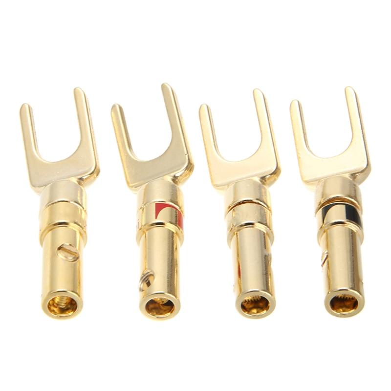 Новые 4 шт. Spade спикер разъемы аудио винт Y вилочный соединитель аудио терминалы позолоченный банан Джек адаптер