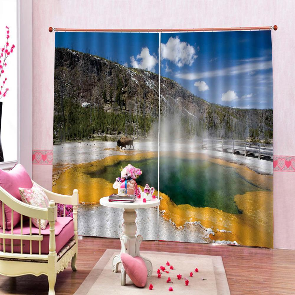 nature scenery landscape curtains Customized size Luxury Blackout 3D Window Curtains For Living Room personality curtains