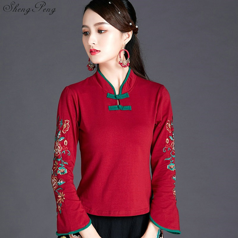 Traditional Chinese Blouse Shirt Tops For Women Mandarin Collar Oriental Shirt Blouse Female Elegant Cheongsam Top V1743