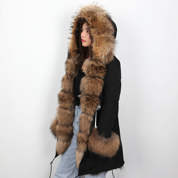2019 new fox fur liner jacket long fur coat female detachable liner to overcome winter women's clothing