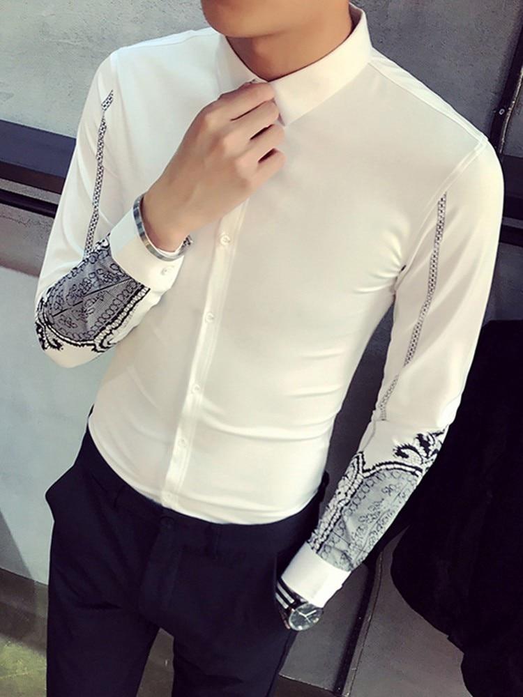 SportsX Men Button Down Long-Sleeve Poplin Loose Nightclub Style Western Shirt