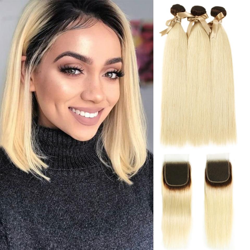 Joedir Human Hair Bundles With Closure Brazilian Straight3/4Bundles Hair With Closure T4/613 Honey Blonde Remy Human Hair Weft