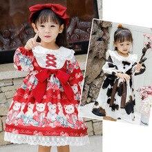 Kawawaii/платье в японском стиле Лолиты для девочек; винтажное платье принцессы с рюшами и рисунком медведя из мультфильма; Одежда для танцев для девочек