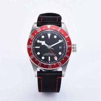 Corgeut 41MM mechaniczne męskie zegarki luksusowe marki Luminou zegarek Sapphire GMT mężczyźni automatyczny wojskowy Sport zegar z kalendarzem skóra w Zegarki mechaniczne od Zegarki na