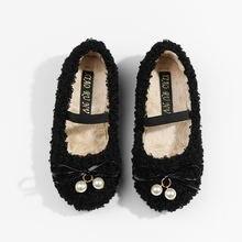 Зимняя обувь для девочек с имитацией овечьей шерсти; Лоферы