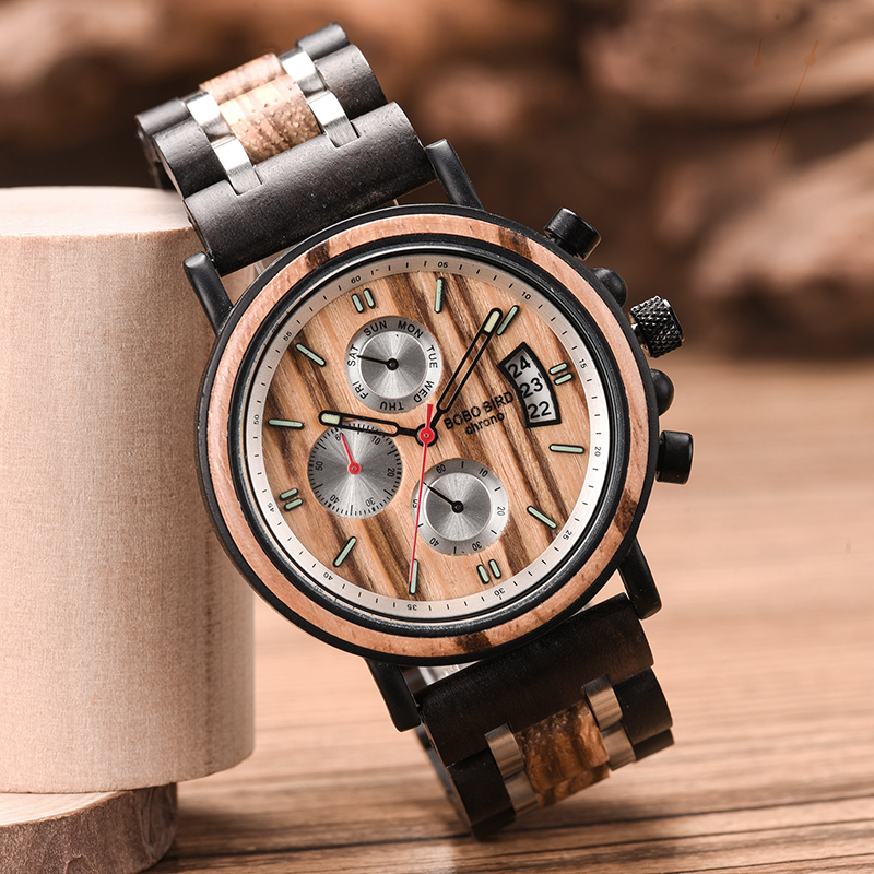 Image 3 - BOBO BIRD Watch Men montre  Wood Watch Men Chronograph Military Watches Luxury Stylish Dropshipping with Wooden Box reloj hombreQuartz Watches   -