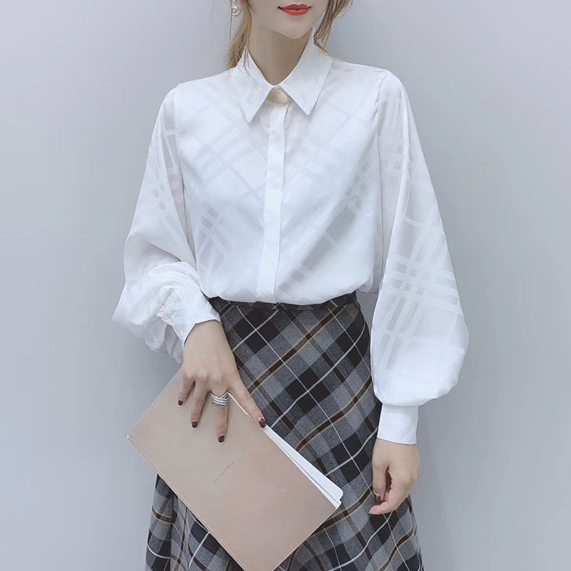 Korean OL Women Long Sleeve Blouses 2020 New Chic Turn-down Collar Female Shirts Vintage Button Plaid Blusas Mujer 2