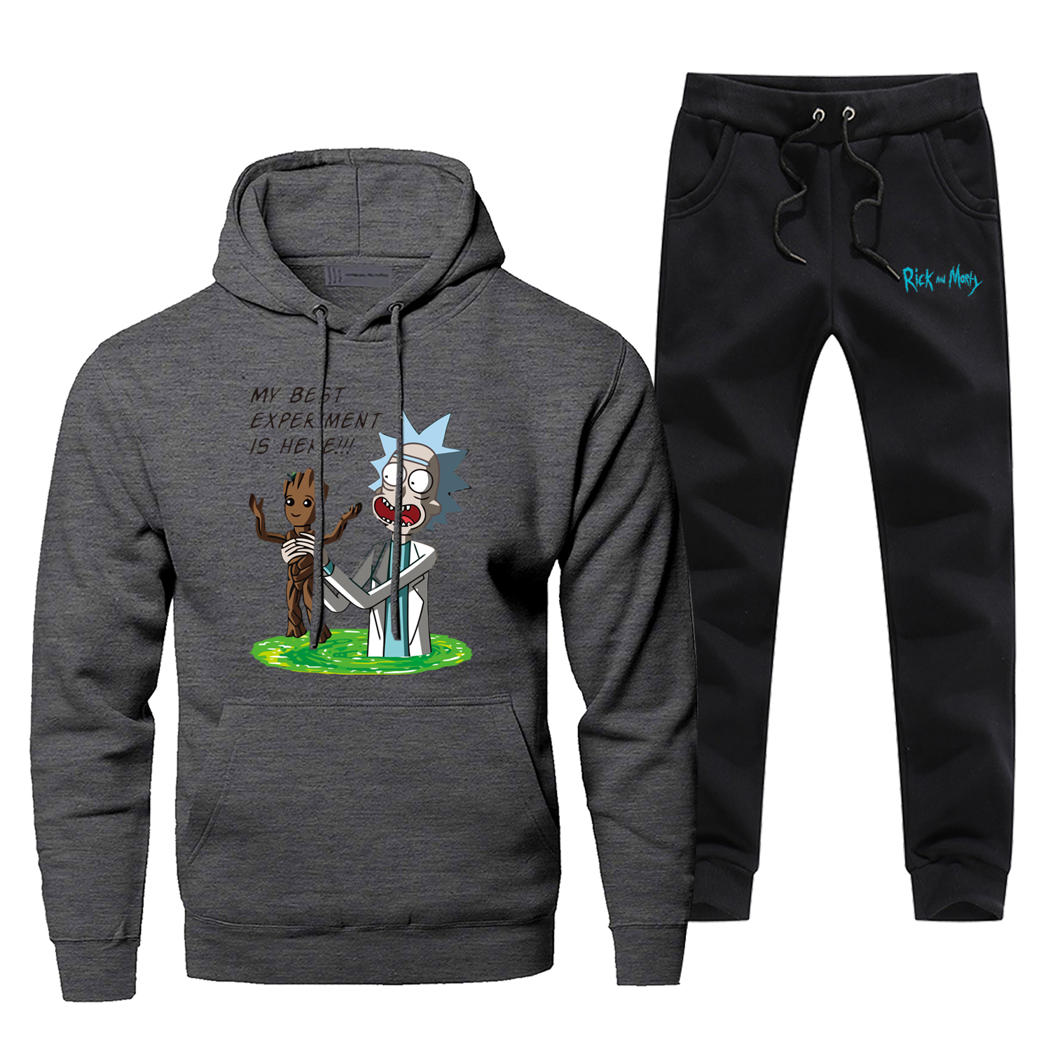 I Am Groot Men's Jogging Anime Rick And Morty Fashion Mens Full Suit Tracksuit Winter Bodywarmer Male Set Funny Fleece Gym Suit