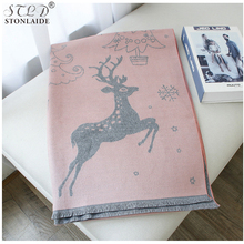 NEW Winter cashmere scarf for women Christmas pattern printed thick warm Russian Shawl Cape imitation Cashmere large long