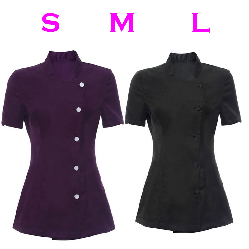 Salon Spa Worker Unifor Beauty Beautician Hairdressers Nails Uniform Tunic Hotel Waiter Costume Purple Black